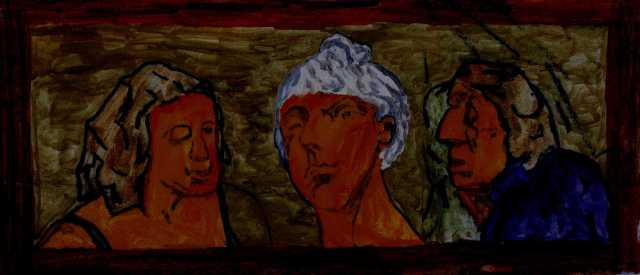 carved three heads painted darkened