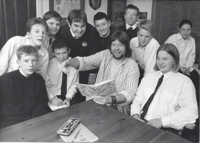 Adrian with a class of school kids around 1987