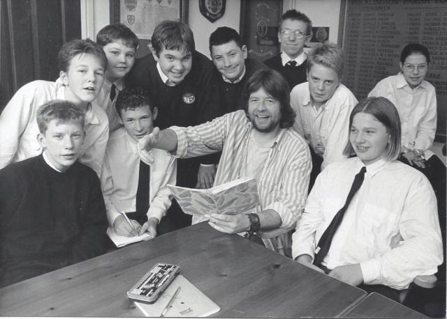 Adrian with a class of school kids around 1987
